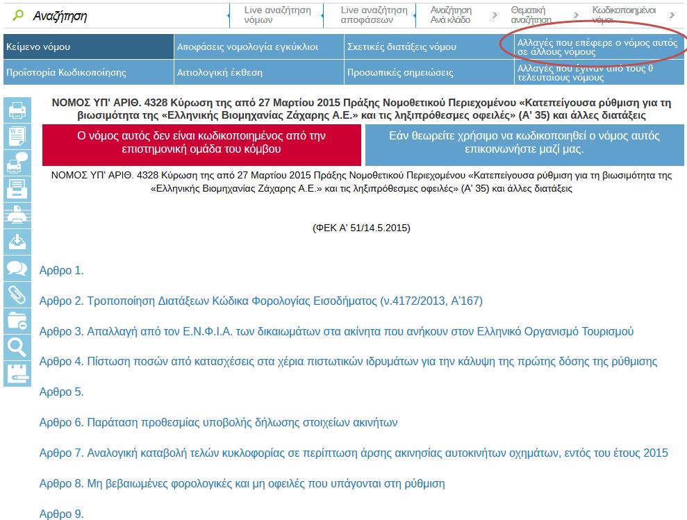 Taxheaven - Άμεση ενημέρωση - Έγκαιρη επιστημονική κωδικοποίηση - Καινοτομικά εργαλεία. Κωδικοποιήθηκαν όλοι οι νόμοι στους οποίους επιφέρει αλλαγές ο νόμος 4336/2015